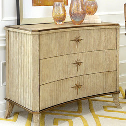 Klismos 3 Drawer Cabinet - Sandblasted Oak - Starburst backplates on the brass hardware of the Klismos Cabinet ally the aesthetic of this gracious piece with both upscale mid-century Americana and ancient neo-Classical roots.  Three drawers fit neatly into the panel-structured front of this elegant storage piece, while curved feet provide ample space for appreciating the grain of its sandblasted oak.
