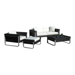 MangoHome - Outdoor Patio Sectional Wicker 4 Piece Aluminum Resin Couch Set - This amazing outdoor sectional set comes in 4 different pieces. It is very functional, stylish and designed to meet your needs! Look at our pictures to view all of the possibilities! Each wicker set is hand crafted by trained professionals with premium quality materials assuring your set will last many years!