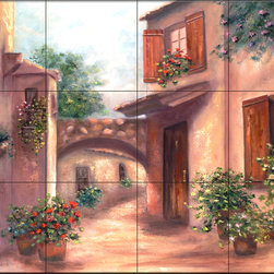 The Tile Mural Store (USA) - Tile Mural - Southern Exposure Ii - Kitchen Backsplash Ideas - This beautiful artwork by Francesca Martinelli has been digitally reproduced for tiles and depicts a nice streetscene.  This street scene tile mural would be perfect as part of your kitchen backsplash tile project or your tub and shower surround bathroom tile project. Street scenes images on tiles add a unique element to your tiling project and are a great kitchen backsplash idea. Use a street scene tile mural, perhaps a Tuscan theme tile mural, for a wall tile project in any room in your home where you want to add interesting wall tile.