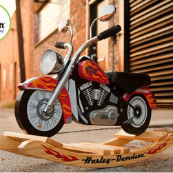 KidKraft - Harley Davidson Roaring Rocker - Fun and fantasy for the toddler - set come together with the new Harley-Davidson Roaring Softail Rocker from KidKraft! Based on the best - selling Softail, this licensed Harley-Davidson Rocker has the authentic Harley-Davidson sound via a sound chip that can be easily activated. With a black leatherette seat, side mirrors, reflector lights, and iconic Harley-Davidson details, kids will feel like theyre riding a real Harley-Davidson. Plus, for extra safety, the rocker is anchored securely on a solid wood, anti - tip rocking base. Features: -Black leatherette seat -Iconic Harley-Davidson detailing -Sound chip easily activates to produce authentic Harley-Davidson sound -Side mirrors -Reflector lights -Solid wood, anti - tip rocking base -For ages 3-8 years