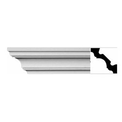 The Renovators Supply - Cornice White Urethane Plymouth - Cornice - Simple | 11463 - Cornices: Made of virtually indestructible high-density urethane our cornice is cast from steel molds guaranteeing the highest quality on the market. High-precision steel molds provide a higher quality pattern consistency, design clarity and overall strength and durability. Lightweight they are easily installed with no special skills. Unlike plaster or wood urethane is resistant to cracking, warping or peeling.  Factory-primed our cornice is ready for finishing.  Measures 3 1/8 inch H x 94 inch L.