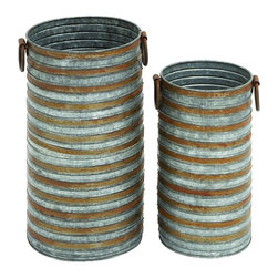 Benzara - Rustic Set of 2 Metal Planters Side Handles Home Patio Garden Decor 49111 - Rustic style set of 2 cylindrical galvanized metal planters with side handles home patio garden decor