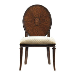 Stanley Furniture - Avalon Heights-Starburst Side Chair - The focal point, and namesake, of the Starburst Side Chair is the eye-grabbing starburst inlay on the seat back. Crafted from mapa burl, the chair envelopes you in beauty and luxury. Equal to the back, the chair's seat is stunning with its use of a quilted pewter fabric, Chrome, over our Super Comfort? seat.