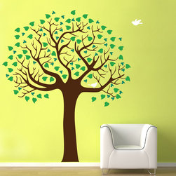 Cherry Walls - Summer Shade Nursery Decal - Give your home an infusion of color and creativity with this summer-y decal. Whimsical, heart-shaped leaves in two colors encircle the branches — home to two birds. Lovely!