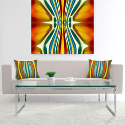 Fury Pattern 6 in Furnished Room - In this clean white room, the bold Fury Pattern Art and coordinating accent pillows create a dynamic modern room. Fury Pattern 6 Art can be printed on acrylic, waterproof metal, canvas or paper and is available on my website. Prints start at $18.00