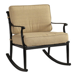 Ballard Designs - Amalfi Rocking Chair - Coordinates with our Amalfi Outdoor Collection. Basic tan cushions included. Extremely strong, yet light enough for easy placement. Replacement cushions available. Requires 1 replacement cushion per chair. Use of an outdoor furniture cover is recommended to extend the life of your piece. Each piece in this inviting collection is crafted of cast aluminum, so the decoration can be more ornate and finely detailed. Rocking Chair features an intricate basket weave design with a rich 3-dimensional look and is beautifully scrolled on both sides, so you can enjoy the pattern from behind.Amalfi Rocking Chair features: . . . . .