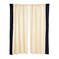 Divine Designs - Border Curtain Panel- Navy - This curtain panel will add a vibrant and sleek style to your living room. Sold as one panel.