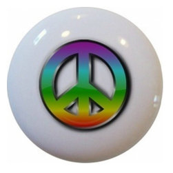 Carolina Hardware and Decor, LLC - Peace Sign Retro Ceramic Cabinet Drawer Knob - New 1 1/2 inch ceramic cabinet, drawer, or furniture knob with mounting hardware included. Also works great in a bathroom or on bi-fold closet doors (may require longer screws). Item can be wiped clean with a soft damp cloth. Great addition and nice finishing touch to any room!