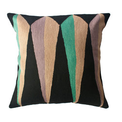 Leah Singh - Zimbabwe Root Winter Pillow - Inspired by the shapes and colors of different flags, these colorful geometric pillows are hand-embroidered by women artisans in north India.