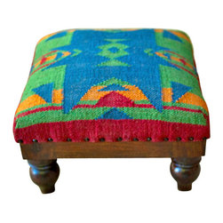 Chippewa Kilim Stool - Furnish your living room with the colors of Santa Fe this Fall with our Chippewa Kilim Stool, a beautiful Southwestern blue and red foot stool.