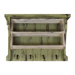 Enchante Accessories Inc - Distressed Wood Drying Rack With Shelves & Hooks (White/Green) - This distressed wood Drying rack features beautifully aged wooden shelves with 4 hooks for coats / Hats etc.