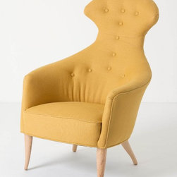 Soren Chair, Soleil Linen, Dark Yellow - The funky shape and bright color of this chair are so happy. It would be a great space for watching the newest season of Mad Men.
