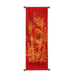 Oriental-Decor - Red Bamboo Oriental Scroll - This dazzling work of Oriental art features a bright sun rising in the east over gold color bamboo stalks. Set against an all-red background, this vibrant and lively hand-painted scroll will add a beautiful Asian decorative touch to any bland area. Red and gold are the two luckiest colors in Asian culture and compliment each other wonderfully. Hang this exquisite Oriental scroll in your home to give any room or wall a colorful and stylish impact.