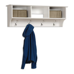 Prepac Cubbie Shelf in White - This intelligent and practical storage design is well suited for any front hallway, bedroom or home office. Its 3 storage compartments are ideal for hats, gloves and schoolbooks, while four large hooks accommodate coats and jackets. This Cubbie Shelf for Entryway in White by Prepac Furniture comes with an easy to install two-piece hanging rail system. Constructed from a combination of high quality, laminated composite woods with an attractively profiled MDF top.