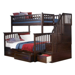 Solid Wood Twin Over Full Bunk Bed in Antique Walnut Finish - Constructed in solid eco-friendly hardwood, in four high build durable finishes, the Columbia bunk bed has a built in modesty panel and can accommodate under bed storage drawers or a trundle.