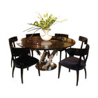 "VIG Furniture - AC833-180 Black High Gloss Crocodile Textured Glass Dining Table With Lazy Susan - The AC833-180 dining table is a great addition for any dining room looking to add a sophisticated look with a modern design. This dining table is crafted with a wood top in a high gloss lacquer finish. A crocodile skin pattern is laser etched into the table top. The table comes with a standard size of 71"" making it perfect for smaller dining rooms. The table features a unique intertwined base made from stainless steel with a polished finish. Built into the center of the table is a lazy susan that adds a bit of versatility to the table. The price shown includes the table only."