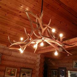 Real Elk Antler Chandelier - Elk Antler Chandelier with 8 - 60 watt bulbs