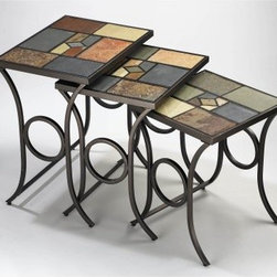 Hillsdale Pompei Nesting Tables - The Pompei Nesting Tables feature lovely colorful solid slate tops supported on graceful scrolled metal frames in black-gold finish. The space-efficient nesting design of this set makes it perfect for even smaller homes. About Hillsdale FurnitureLocated in Louisville Ky. Hillsdale Furniture is a leader in top-quality affordable bedroom furniture. Since 1994 Hillsdale has combined the talents of nationally recognized designers and globally accredited factories to bring you furniture styling and design from around the globe. Hillsdale combines the best in finishes materials and designs to bring both beauty and value with every piece. The combination of top-quality metal wood stone and leather has given Hillsdale the reputation for leading-edge styling and concepts.