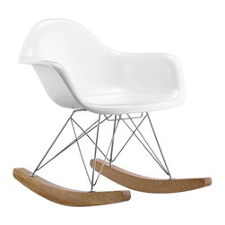 """Zuo Modern - Zuo Modern Rocket Rocking Arm Chair Multicolor - 110020 - Shop for Rocking from Hayneedle.com! Unwind in a rocker updated for modern times with the Zuo Modern Rocket Chair. This fine rocking chair crafted of sturdy molded fiberglass with a chrome steel frame and wood base features a lustrous white finish - a striking accent for any contemporary decor. The high-end chair features a streamlined ultra-modern style with smooth lines and curves; the rounded wooden base allows for soothing rocking motion. Assembly is a snap in 15 minutes or less; tools are provided. The chair measures 29L x 36W x 34H inches.About Zuo ModernZuo Mod designs products with a simple philosophy in mind: clean modern shapes combined with classic colors. All Zuo Mod products are put through rigorous processes to ensure quality materials and production ensuring that your item reaches you in top condition. Yet Zuo pieces are modestly priced for today's consumers. Zuo works to inspire a sense of value and worth along with the significance of aesthetics. If it passes the """"wow this feels solid"""" test along with the """"this looks amazing"""" and the """"what a great price"""" test you know it's a Zuo product."""