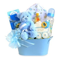Givens & Company - Cuddly Welcome for Baby Boy Gift Basket - A new baby is a wondrous gift that warms everyone's heart! Send Welcome greetings of love and joy with this special blue gift tin filled with goodies and useful items for Mom and baby.