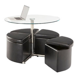 Standard Furniture - Standard Furniture Cosmo 5 Piece Round Coffee Table Set w/ Adjustable Heigh Base - Cosmo presents a dynamic new concept for occasional groupings that's all about function and versatility paired with modern urban styling.