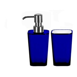 Bathroom Accessories Set - 2 Pieces - Liquid Soap Dispenser and Tumbler, Blue - Modern bathroom accessories set with liquid soap dispenser and bathroom tumbler in bright fun colors.  Plus this contemporary accessory set is made from impact resistant acrylic. As beautiful as glass plus stronger. Made in Germany. Tumbler (W) 2.75in x (H) 4.5in ; Dispenser (W) 2.75in x (H) 6.75in