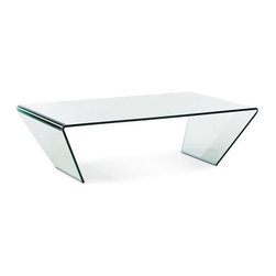 ZUO - Migration Coffee Table - Angled legs give the Migration Coffee Table an arresting shape. Made of tempered glass folded into a triangle. Gives your couch extra oomph.