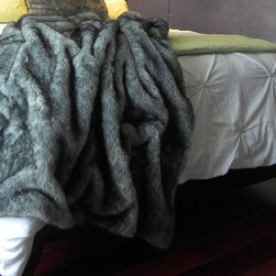 "European Faux Fur Collection - Bear Mink Grey Woven Faux Fur Throw With Black Silk Velvet Lining. (52""x70"") Faux Fur Made in France"