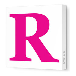 """Avalisa - Letter - Upper Case 'R' Stretched Wall Art, 12"""" x 12"""", Fuchsia - Spell it out loud. These uppercase letters on stretched canvas would look wonderful in a nursery touting your little one's name, but don't stop there; they could work most anywhere in the home you'd like to add some playful text to the walls. Mix and match colors for a truly fun feel or stick to one color for a more uniform look."""