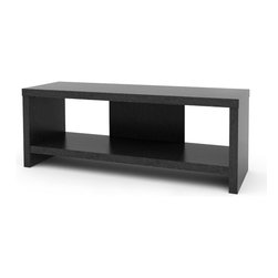None - Black Ebony Ash Hollow Core 60-inch TV Stand - The clean lines and modern look of the 60-inch Hollow Core TV Stand will complement any decor. This TV stand is finished in contemporary Black Ebony Ash with an open shelf for your components and easy to assemble with household tools.