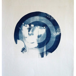 Her: Massachusetts (Original) by Erin Galvez - Cyanotype of a mannequin target. The original image was taken in Lowell Massachusetts in 1999. The cyanotype was printed in 2005; a series of mannequin imagery targets.