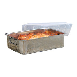 Cookpro - 4pc Stainless Steel Roaster Lasagna Pan Roaster - How deep is your love — for lasagna? It can't get much deeper than this roasting pan that holds lots of luscious layers, and comes with a spatula to dish it all out. Made of high-quality stainless steel, it'll get plenty of nonlasagna action, as well, thanks to the roasting rack and plastic cover included.