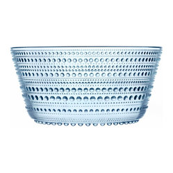 Iittala - Kastehelmi Bowl Light Blue Large - Know that cool, delightful feeling of running barefoot through the grass on an early morning? This beautiful glass bowl recaptures it for you, with a base to rim pattern of graceful dewdrops.