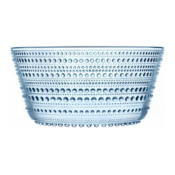 Iittala - Kastehelmi Bowl Light Blue Small - Know that cool, delightful feeling of running barefoot through the grass on an early morning? This beautiful glass bowl recaptures it for you, with a base to rim pattern of graceful dewdrops.