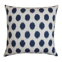 "The Pillow Collection - Faustine Ikat Pillow Navy Blue 18"" x 18"" - Reinvent your room with this eclectic accent pillow. Made with a rich 100% cotton fabric, this throw pillow lends comfort to your home. This 18"" pillow provides finishing touches to your furniture. This contemporary pillow is adorned with an ikat pattern in shades of navy blue and white. The bold pattern in this decor pillow elevates your living space to a new level. Hidden zipper closure for easy cover removal.  Knife edge finish on all four sides.  Reversible pillow with the same fabric on the back side.  Spot cleaning suggested."