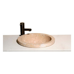 The Allstone Group - VUMR Sahara Limestone Honed Deck mount sink - Natural stone strikes a balance between beauty and function. Each design is hand-hewn from 100% natural stone.  Allstone deck mounted sinks can be installed on top, in or below your counter top. Each sink is hand crafted to give your bathroom a touch of class to be admired for years to come.