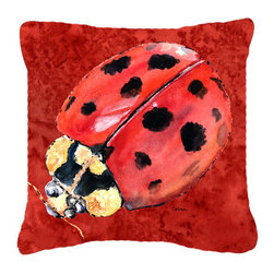 Caroline's Treasures - Lady Bug on Deep Red Fabric Decorative Pillow - Indoor or Outdoor pillow made of a heavy weight canvas. Has the feel of Sunbrella fabric. 14 inch x 14 inch 100% Polyester Fabric pillow Sham with pillow form. This pillow is made from our new canvas type fabric can be used Indoor or outdoor. Fade resistant, stain resistant and Machine washable.