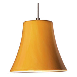 A19 - Bella Mini Pendant - Sunflower Yellow - With Canopy - Like a chic hat seen at a sidewalk cafe in Paris, this bell-shaped mini pendant is almost deceptively simple. The gentle yet perfect curves and smooth surface are perfect for showing off the beauty of your choice of our many hand-applied glazes. We're showing sophisticated Black Gloss, happy Sunflower Yellow, and the brilliant, varied reds of Firecracker.