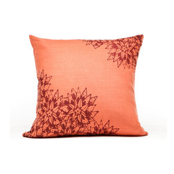 Cricket Radio - Indochine Paradise Floral Pillow, Spice/Cherry - Sink into soft, classic style with this pillow hand-printed on pre-shrunk Italian linen. It features a choice of two soft colors, ecofriendly inks and a down insert that can be removed for easy cleaning. At 20 inches square, it's a perfect addition to your bed, bench or sofa.