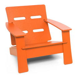 Loll Designs - Cabrio Lounge Chair, Sunset Orange - Just looking at this inviting lounge chair starts to calm the nerves. You can let go of the day, as the ventilated seat back helps keep you cool. Relax in knowing the rest of the thoughtful design is doing its job.