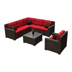Forever Patio - Capistrano 7 Piece Modern Outdoor Sectional Set, Flagship Ruby Cushions - Create the ultimate outdoor living space with the Forever Patio Capistrano 7 Piece Modern Outdoor Wicker Sectional Set with Red Sunbrella cushions (SKU FP-CAP-7SEC-MC-FF). The set seats 5 adults and features variegated mocha resin wicker with half-round strands that create a luxurious, contemporary look and feel. Each strand of wicker is infused with UV-inhibitors that prevent cracking, chipping and fading ordinarily caused by sunlight. Each piece has thick-gauged, powder-coated aluminum frames that make the set durable and corrosion resistant. Also included are fade- and mildew-resistant Sunbrella cushions. These cushions are generously sized in thickness and seating area, delivering unrivaled outdoor comfort.
