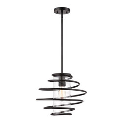 """Franklin Iron Works - Contemporary Vansbro Collection 14 1/2"""" Wide Black Pendant Light - Make a statement with this modernly edgy pendant light. Made of metal this fixture features an open swirl design that leaves the bulb visible for plenty of light to shine through the clear glass container. From the Vansbro Collection of Franklin Iron Works. Black finish pendant light. Metal swirl design. Clear glass cylinder. Takes one 60 watt bulb (not included). Includes one 6"""" rod three 12"""" rods. 14 1/2"""" wide. 11 1/2"""" high. Canopy is 4 3/4"""" wide. Hang weight is 5 lbs.  Black finish pendant light.  Metal swirl design.  Clear glass cylinder.  Takes one 60 watt bulb (not included).  Includes one 6"""" rod three 12"""" rods.  14 1/2"""" wide.  11 1/2"""" high.  Canopy is 4 3/4"""" wide.   Hang weight is 5 lbs."""
