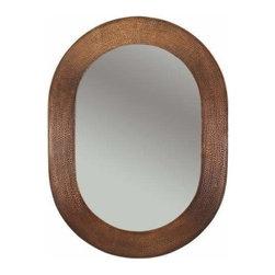"""Premier-Copper-Products - 35"""" Oval Copper Mirror - MFO3526 Premier Copper Products 35 Inch Hand Hammered Oval Copper Mirror"""