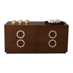 White Line Imports - Eddy Double Dresser in Walnut Veneer - This fashionable and sleek double dresser from Eddy collection features 6 spacious drawers for clothes and other bedroom accessories, elegant stainless steel handles and Full Extension hardware.