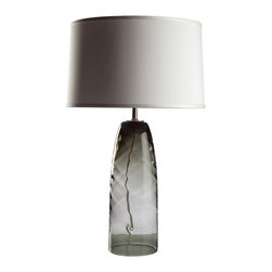 Loving Lighting - Champagne Whirl Glass Table Lamp with Ivory Silk Shade - Features: