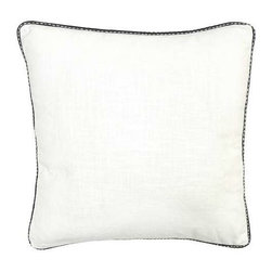 """Villa Home - Pair of Nature's Bliss Roche White Pillows By Villa Home - All good design needs some """"vanilla"""" but in this case, it's white. The Nature's Bliss Roche Pillows by Villa Home are the calming solid pillows amongst the eye stimulating patterns. Piped with a modern black and white trim, this crisp duo will allow your pillow collection to shine. (VH) Sold as a pair. Feather down inserts included. 22"""" wide x 22"""" high"""
