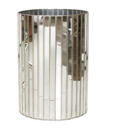 Worlds Away Round Faceted Antique Mirror Wastebasket, - Worlds Away round faceted antique mirror Wastebasket, with silver detailing
