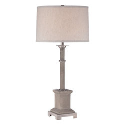 Quoizel - Quoizel QZ-CKPP1749T - Traditional styling with an industrial edge….this Prospect table lamp is perfect for any room in your home.  The metal accents enhance the simplistic detail of the cement base and the gray fabric drum shade completes the look of this cool, sleek table lamp.