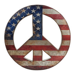 Give Peace a Chance Wall Hanging - Bring a touch of the '60s into your home with this peace sign wall hanging. We love the distressed American flag design and think this would be a fun touch for a guest bedroom or a nice adornment for a theme bathroom.