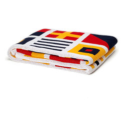 Nautical Flag Border Throw - Bold colors darkened to richness � navy, cardinal, and gold � depict the simple heraldic symbols that form the vocabulary of nautical signaling flags in this knit blanket, the Nautical Flag Border Throw.  Made from a top-of-the-line mix of recycled cotton with other fibers for a rich, smooth feel, this dark throw is a point of dramatic interest on your bed or sofa.